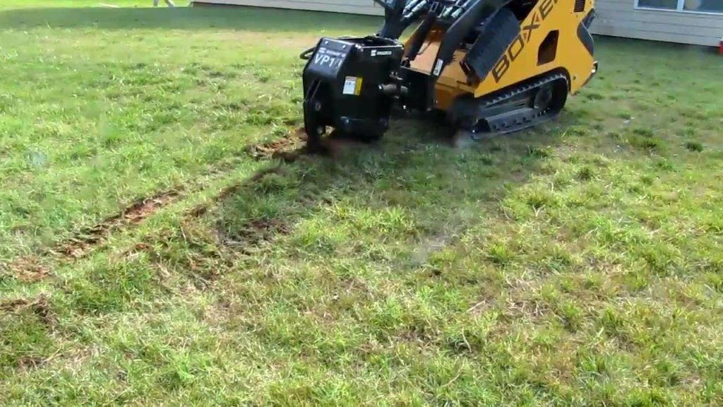 When installing lawn sprinkers, we use our vibrating plow to install the lines to reduce the impact on your turf.